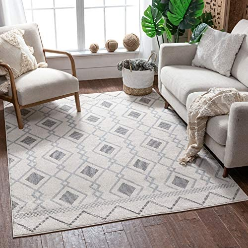 Well Woven Mandee Cream Tribal Diamonda Trellis Pattern Area Rug 8×11 7 10 x 10 6