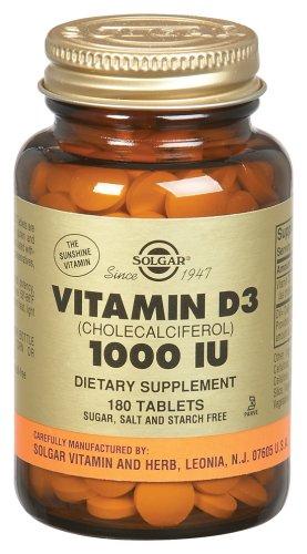 Solgar - Vitamine D3 1000 UI, 1000, 180 comprimés