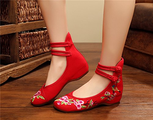 Avacostume Chinois Prune Broderie Semelle En Caoutchouc Mode Chaussures Pour Cheongsam Red2