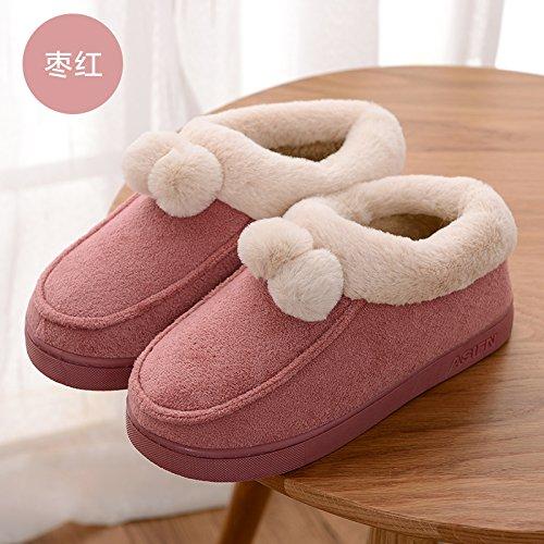 DogHaccd Zapatillas,Zapatillas de algodón grueso femenino alta invierno estancia paquete con un par de interiores y exteriores una cálida y hermosa antideslizante SHOES macho Rojo4