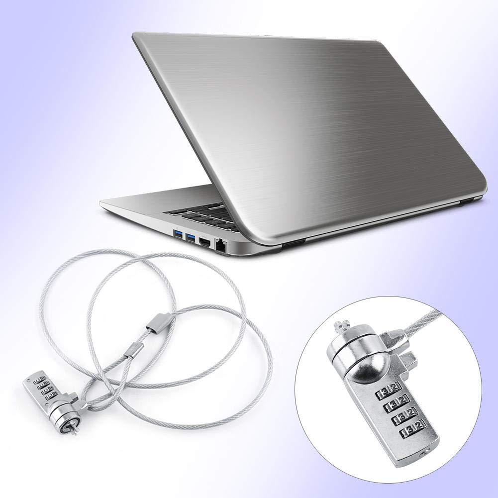 Zopsc Laptop Combination Lock Security 1.2m Cable Chain 4 Digital Password Theft Deterrent for Desktops Laptops and Projectors