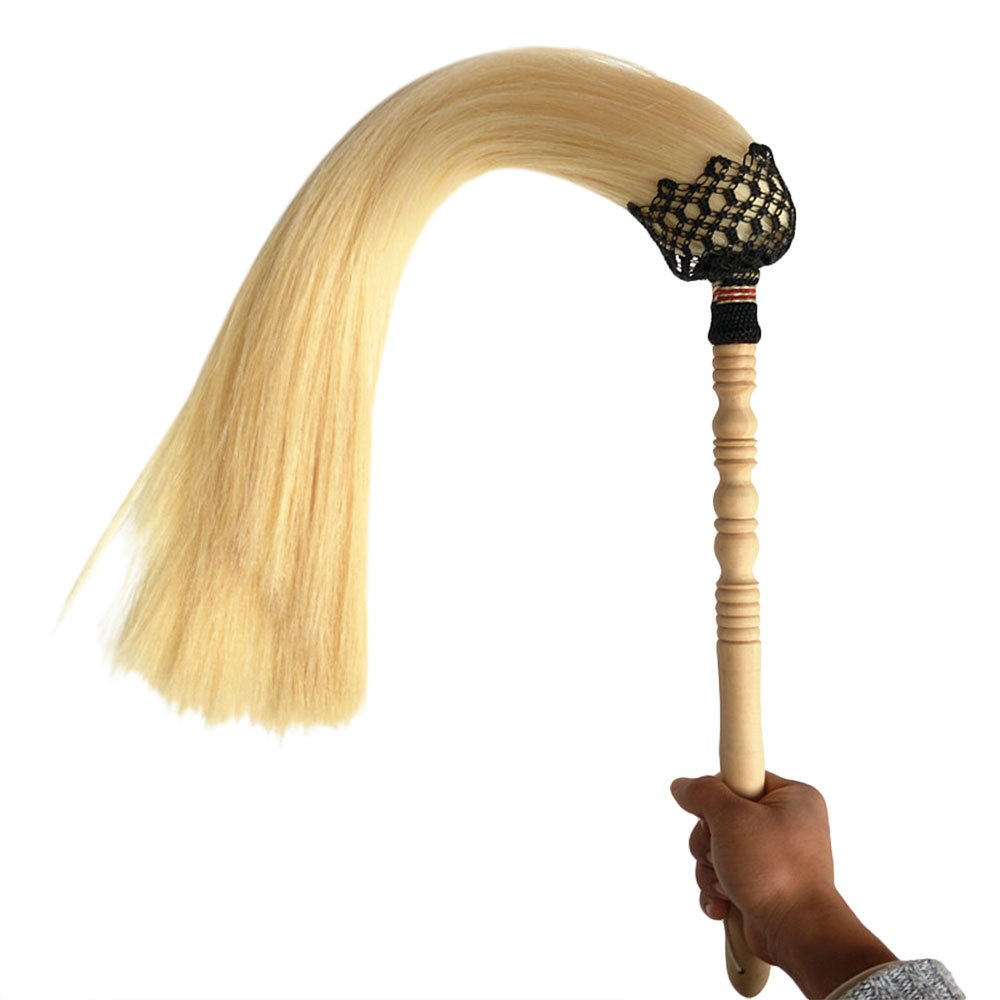 ZooBoo Fly Horsetail Whisk Stick - Chinese Taoist Wudang Buddhism Taiyi Tai Chi Wood Wooden Handle Horse Tail Qi Gong Martial Arts Weapon Fuchen Duster - Natural White (Beige, 250g 80cm Tail)