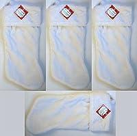 "18"" Red, Green, Maroon, or White Plush Stockings W/White Plush Cuff & Hanging Tag (4, White)"