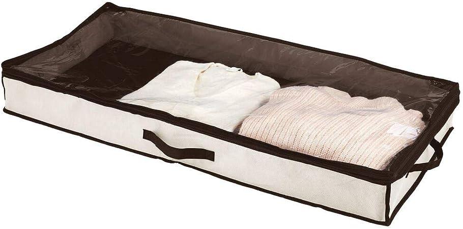 mDesign Cajón para debajo de la cama – Cajas bajo cama con tapa transparente para ropa, sábanas