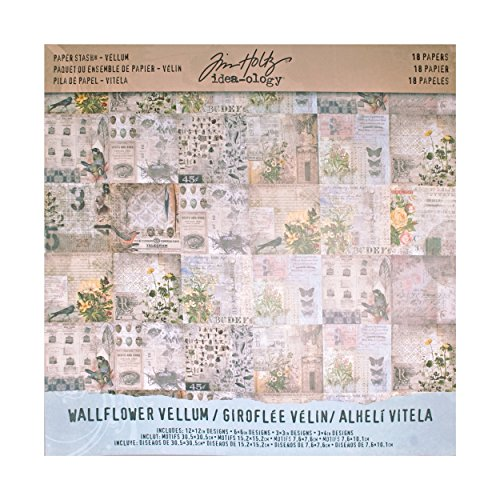 Printed Vellum - Tim Holtz Idea-ology Paper Stash, Vellum, Wallflower, 18-Sheet Pack, 12 x 12 Inches Each, (TH93148)
