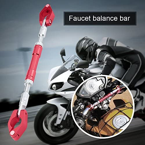 Qiilu Motorrad Balance Lenker Universal Einstellbare Aluminiumlegierung Motorrad Balance Cross Lenker Stärkung Hebel Bar Rot Auto