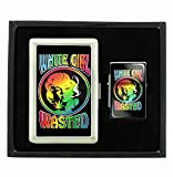 White Girl Wasted Baked Cigarette Case and Flip Top Oil Lighter Set