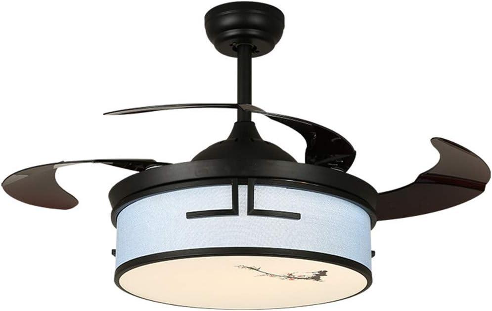 FLYFO Techo Moderno Ventilador Iluminación, Remoto Techo LED Light Control del Ventilador, Cromo Cepillado Alas Plegables Carcasa Retráctil Cuchillas Plegable Ventilador Techo Lámpara