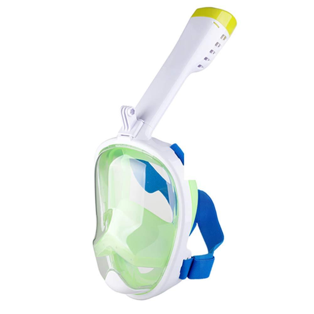 Maschera per lo Snorkeling a Pieno facciale - 180 Vista Panoramica Maschera per lo Snorkeling - Maschera per lo Snorkeling Full Face per Adulti - Maschera per Snorkeling Nessuna Perdita,verde,S