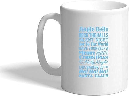 Azul claro Cascabeles Salones de cubierta Silent Night Joy World Taza de café de cerámica Taza blanca