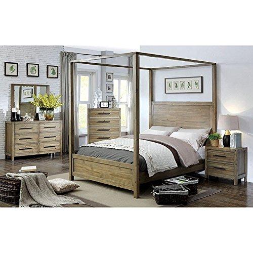 Garland Bedroom Contemporary Canpoy Bed Light Oak California King Size Platform Bedframe 4pc Set Matching Dresser Mirror Nightstand Classic Design (Canopy Bedroom Oak Bed)