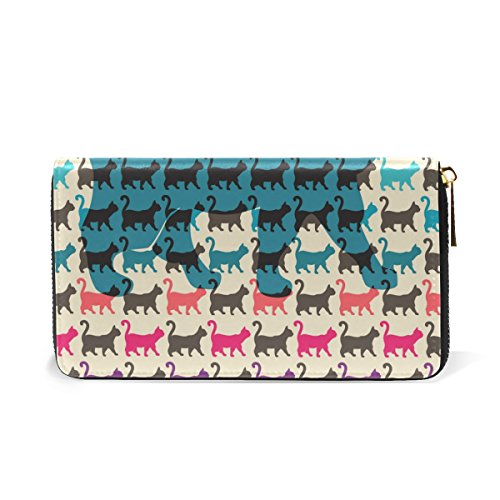 Womens Tails Handbags Around Colorful Organizer with Cats Purses Zip TIZORAX Leather Curved Wallet Clutch And IXwUCq