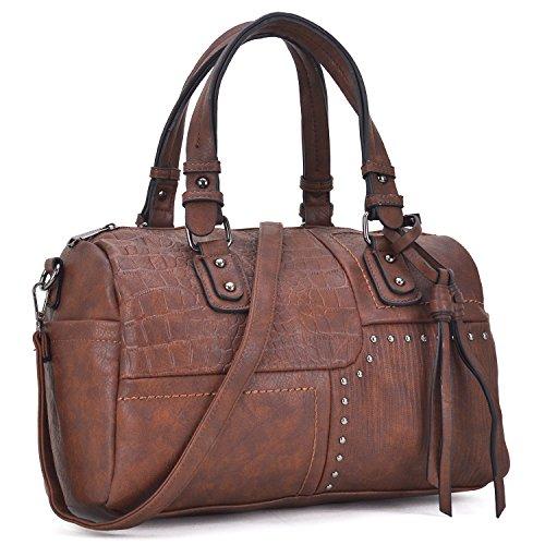 Dasein Women Designer Coffee Handbags Soft Vegan Leather Tote Bags Large Shoulder Satchels Purse W/Crossbody - Satchel With Small Strap