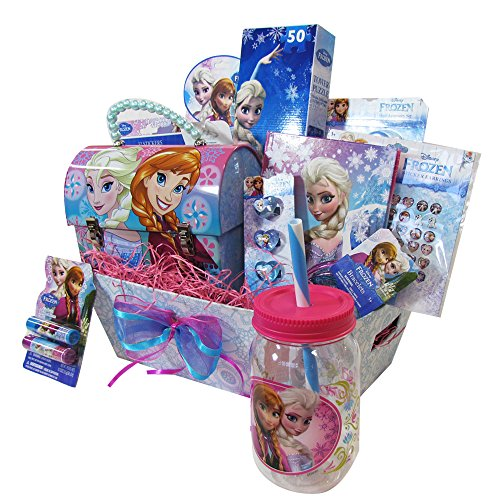 Easter Gift Basket Idea 10 Frozen Themed Items for Girls With Bracelet, Novelties, Tin Purse, Diary, Nail and Hair Accessories by SKash26ani (Image #1)