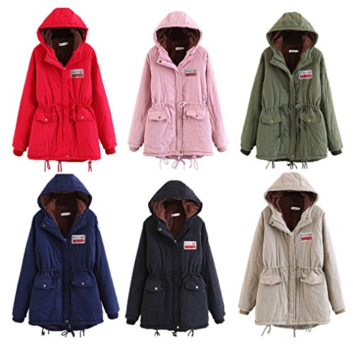 Wool Puffer COMVIP Hood Lined Parkas Size Women Black Leisure Coat Plus Lamb UrcqqtFzn