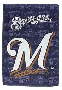 Milwaukee Brewers brillantina Logo bandera de Jardín con soporte de metal