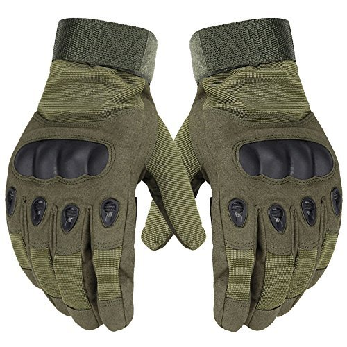Size Medium Full Fingered Breathable Tactical Gloves with Knuckle Protection for Paintball, Airsoft, Cycling, and Motorcycle - Unisex - Army Green - by Science Purchase by Science Purchase