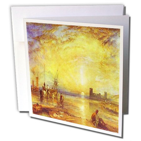 3dRose British Painter William Turner 1838 Flint Castle Seascape 6 x 6 Inches Greeting Cards, Set of 12 (gc_150968_2) ()