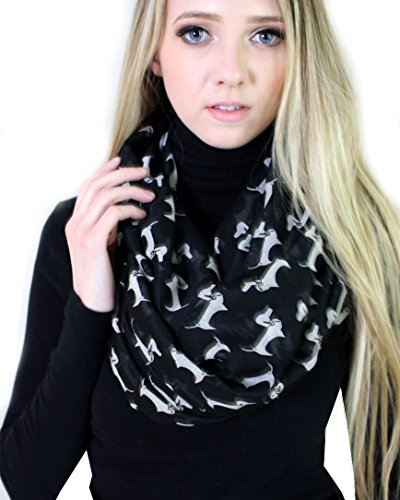 Anika Dali Women's Bella Dachshund Doggie Infinity Circle Scarf (Black / Off White)