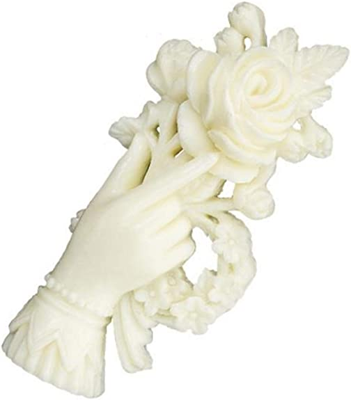Victorian Trading Co Rose in Hand Ivory Resin Brooch or Pin