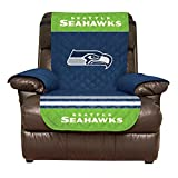 NFL Seattle Seahawks Recliner Reversible Furniture Protector with Elastic Straps, 80-inches by 65-inches