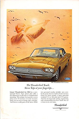 Print Ad 1966 Ford Car Thunderbird Unque in all the World