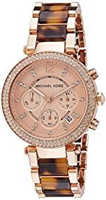 New Michael Kors Chrono Tortoise Rose Gold Tone Bracelet Ladies Watch MK5538