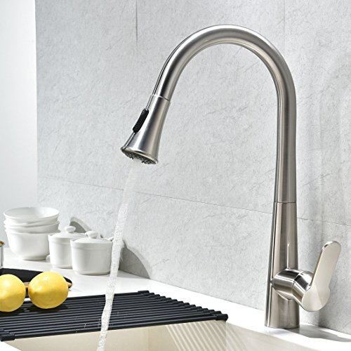 VCCUCINE Best Modern Single Handle Brushend Nickel Pull Out Sprayer Kitchen Sink Faucet, Single Lever Pull Dowen Sink (Single Lever Pull)