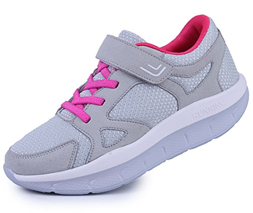 DADAWEN Women's Platform Wedges Tennis Walking Sneakers Comfortable Lightweight Casual Fitness Shoes Gray US Size 9.5