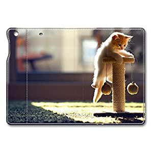 Brain114 iPad Air Case - Full Body Protection Defender Case Cover for iPad Mini Cat Playing Stand Leather Case Cover for iPad Mini