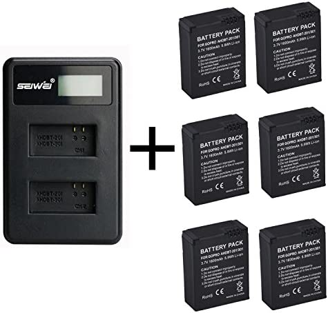 2 Piezas 1600mAh para GoPro AHDBT-201/301 batería de la cámara con Cargador de batería Dual para Gopro Hero 3 3+ AHDBT-301, batería AHDBT-201 (2 pcs Battery with Charger): Amazon.es: Electrónica