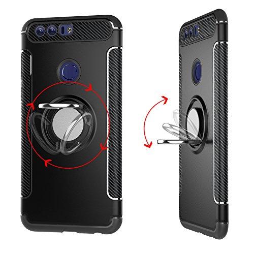 YHUISEN Armor Dual Layer 2 en 1 Estuche protector con 360 grados Giratorio Finger Ring Holder y Magnet Car Holder Estuche para Huawei Honor 8 ( Color : Gray ) Gold