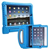 HDE iPad Air 2 Bumper Case for Kids Shockproof Hard Cover Handle Stand with Built in Screen Protector for Apple iPad Air 2 (Blue)
