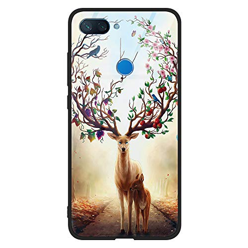 Eouine Xiaomi Mi 8 Lite Case, [Anti-Scratch] Shockproof Patterned Tempered Glass Back Cover Case with Soft Silicone Bumper for Xiaomi Mi 8 Lite Smartphone (Jungle Deer)