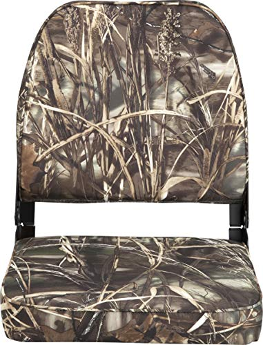Attwood 98395CAMO Low-Back Padded Boat Seat, Camo, High-Impact Plastic Frame, 7 Inches W x 16 Inches D x 16 Inches H