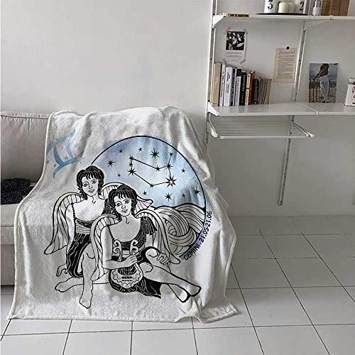maisi Zodiac Gemini Digital Printing Blanket Watercolor Backdrop and Constellation with The Twins and Harp Summer Quilt Comforter 62x60 Inch Pale Blue Black and White