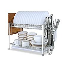 YOMYM 304 Stainless Steel 2 Tier Kitchen Organizer and Storage with Dish Drying Rack and Cutlery Holder