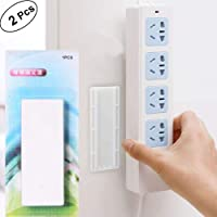 2pcs Seamless Punch-free Plug Sticker Holder Wall Fixer Power Strip Holders Storage for Sockets Wall Holders Shelf Stand…