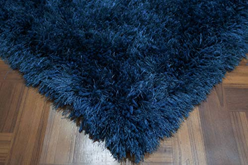 (LA Romance Shag Plush Furry Fuzzy Pile Large Big Shaggy Modern Soft Furry 5-Feet-by-7-Feet Polyester Made Area Rug Carpet Rug Navy Blue Color)