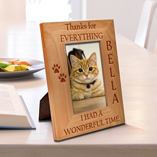 Carving Wonderful - Be Burgundy - Personalized Thanks For Everything, I Had a Wonderful Time Pet Memorial Picture Frame, Pet Photo Frame - Custom Christmas Gift Frame - Birthday Gift - 4x6 | 5x7 | 8x10 Size Options