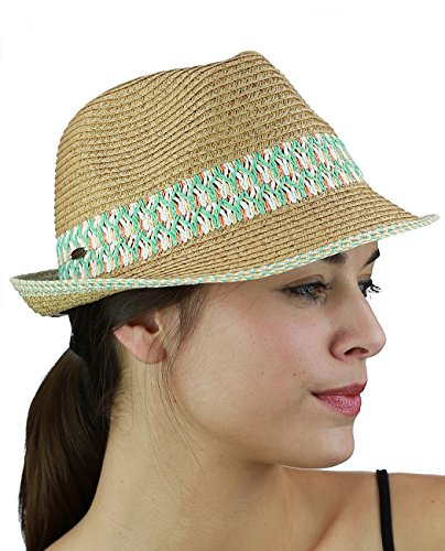 NYFASHION101 Multicolored Weaved Band and Trim Stingy Trilby Fedora Hat, Aqua - Trim Fedora