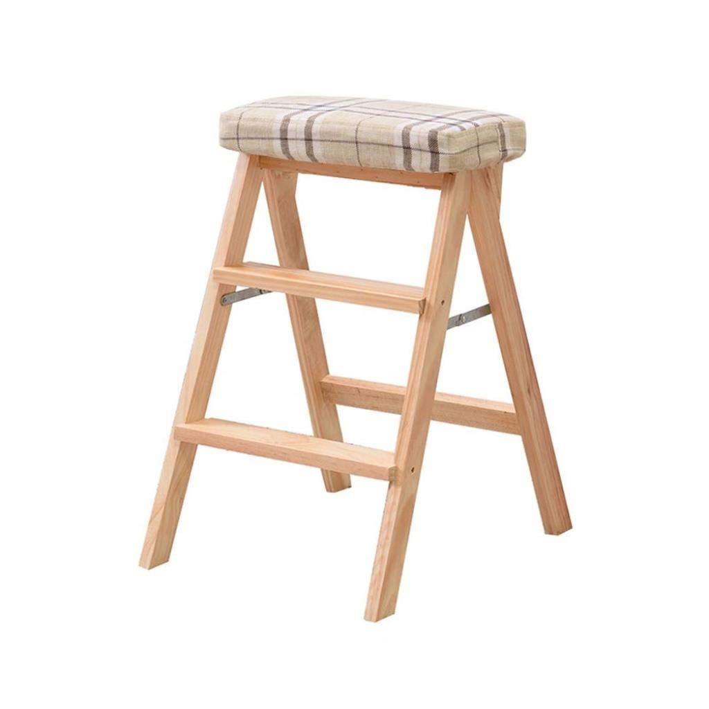 無垢材折りたたみスツールホームクライミングスツールファッションクリエイティブ折りたたみ椅子ポータブルデュアルユースキッチンベンチ階段スツール42×49×63 cm ZHUXUM (Color : S) B07SCY3D1Q S