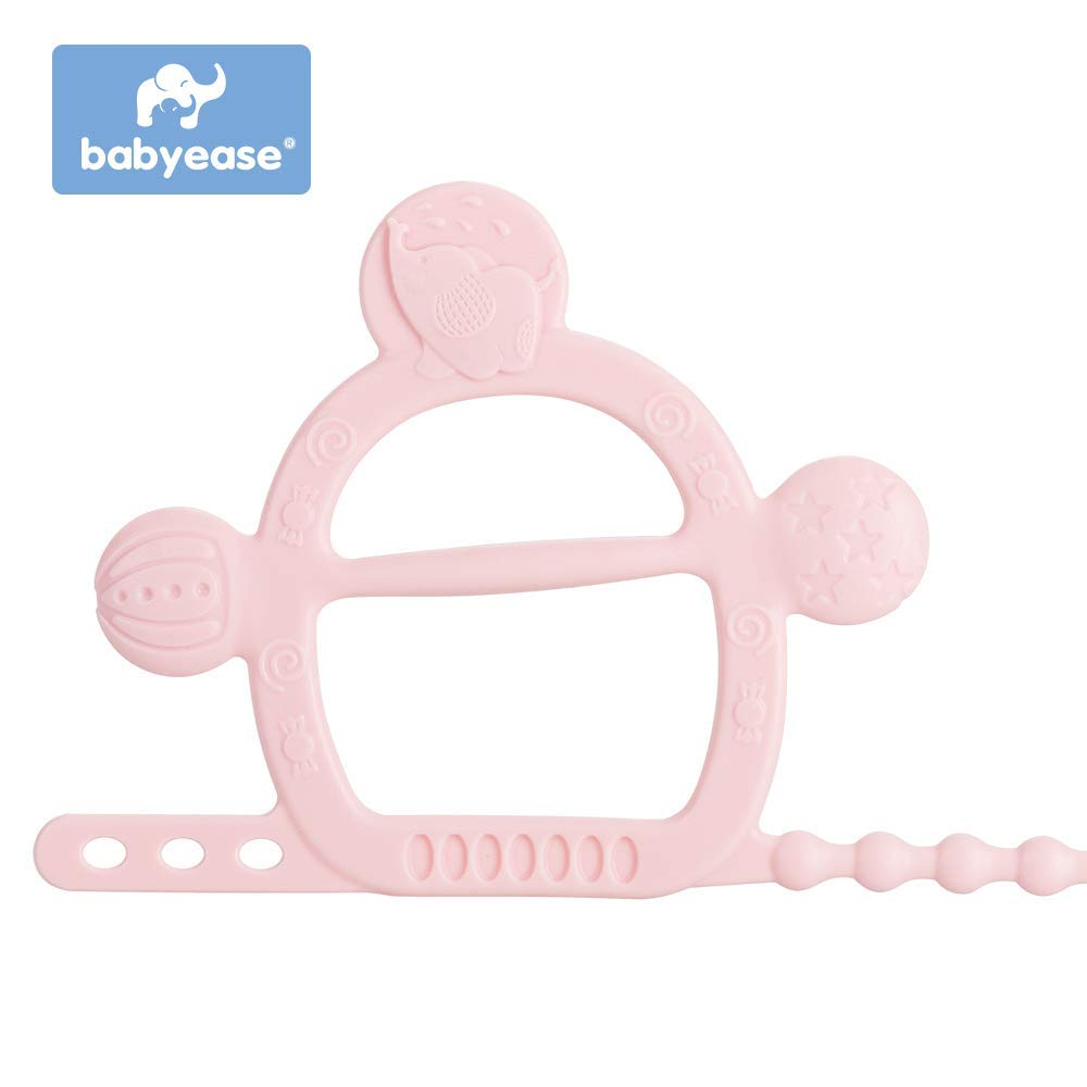Pink Silicone Bracelet Teether Toy BPA free Prevent from dropping off without Parts