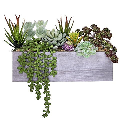 Supla Artificial Pre-Made Succulent Wood Planter Arrangement 10 Pcs Assorted Fake Succulent Plants in Rectangular Wooden Planter Box Faux Potted Succulents Centerpiece Succulent Garden (Silk Plant Centerpiece)