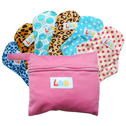 LBB(TM) Rusable Washable Bamboo Mama Cloth Menstrual Pads/Sanitary Pads/Panty Liners 10 Inch,6pcs (Cloth Feminine Pads)