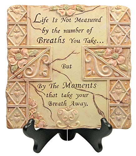 BANBERRY DESIGNS Garden Stepping Stone - Life is not Measured by The Number of Breaths Saying - Indoor/Outdoor Inspirational - Stone Plaque Art