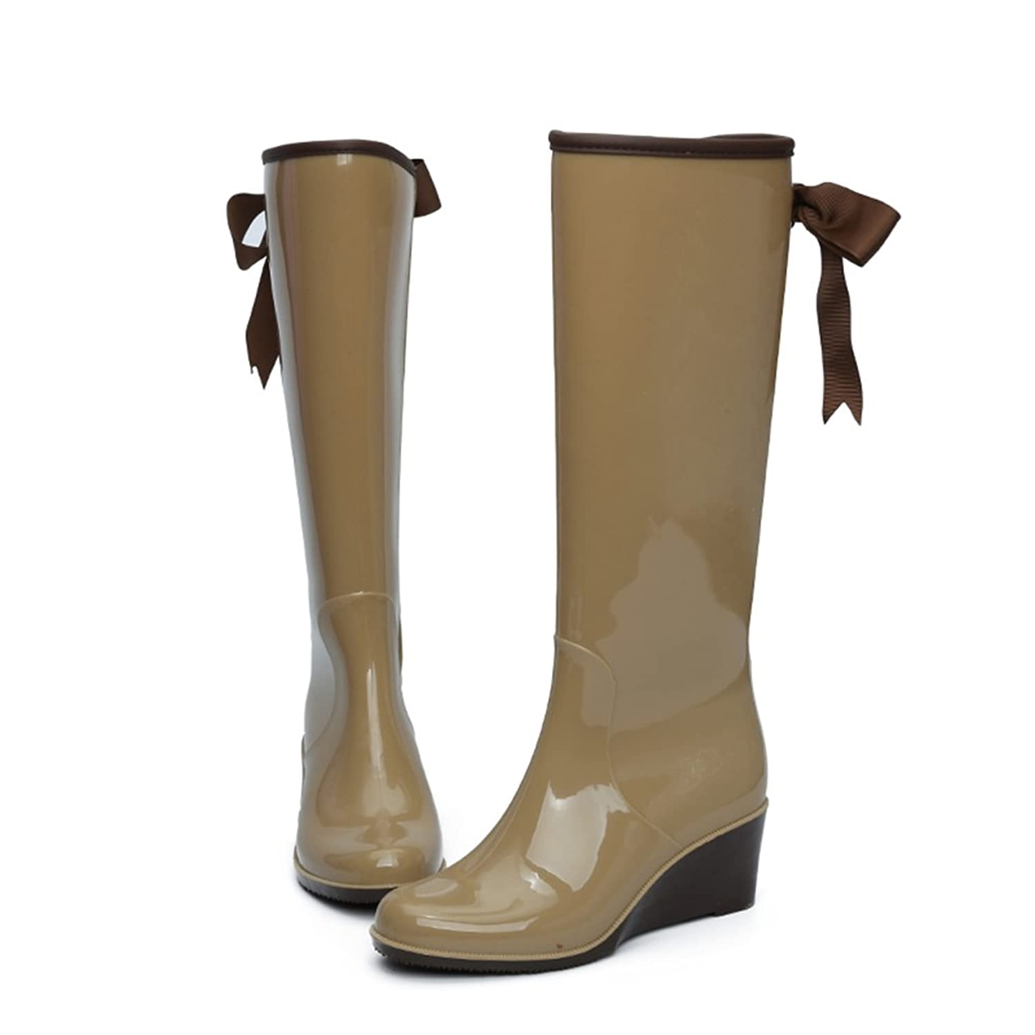 fereshte Women's Wedge Heel Side Zipper Waterproof Priting Attached Fleece  Lining Rain Boots With Bow: Amazon.co.uk: Shoes & Bags