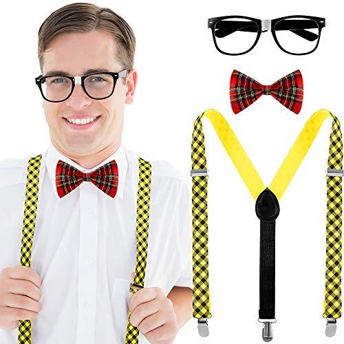 3 Pieces Nerd Costume Set Maid Costume Kit, Include Black Glasses, Plaid Bow Tie, Suspenders for School Costume Accessories