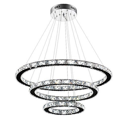 SAILUN® 96W LED Cristal Lámpara de Araña Moderna Lámpara Colgante, 3 anillos Lámpara de Techo Blanco Cálido Iluminación Interior (96W Blanco frío)