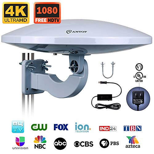 Outdoor HDTV Antenna -Antop Omni-Directional 360 Degree Reception Antenna for Outdoor, Attic,RV Used, 65 Miles Range with Amplifier Booster and 4G LTE Filter, Waterproof, Anti-UV and Easy Install